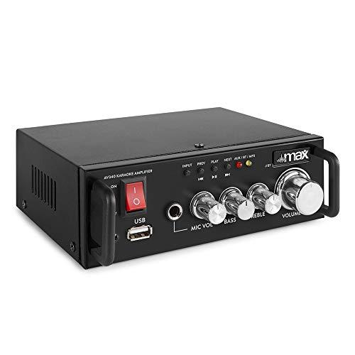 Max AV340 - Amplificador digital karaoke con Bluetooth, potencia de 2 x 50 W, reproductor MP3 integrado, entrada de micrófono, ideal para tus fiestas de karaoke