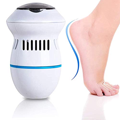 Electric pedicure foot file callus remover- Portable Vacuum Adsorption Foot Grinder Best Pedicure Tools Double head Professional Feet Care Sander for Cracked Heels and Hard Skin (white)