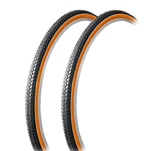 シンコー(shinko) 自転車 タイヤ カラータイヤ チューブ ペア セット SR078 DEMING LL 27インチ ブラック/オレンジ ママチャリ シティサイクル 自転車タイヤ 街乗り 通勤 通学