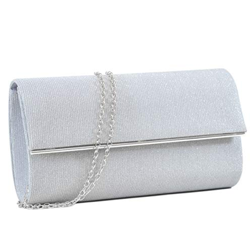 Women's Evening Bag Glitter Clutch Wedding Bridal Purse Sparkle Cocktail Party Prom Handbag (Silver + silver hardware)