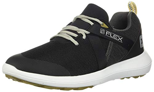 FootJoy Men's Flex Golf Shoes, Black, 7 M US
