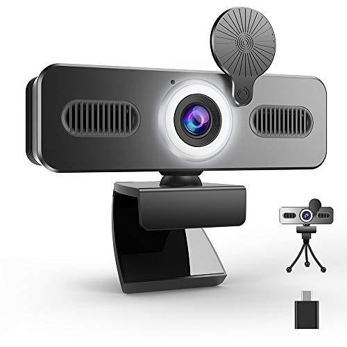 Belnk A9C - Webcam con anillo de luz FHD 1080P con micrófono y cámara web en streaming, cámara web Plug & Play, brillo ajustable, USB Webcam para PC, escritorio, portátil, Mac