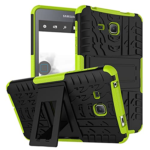 ZHENGNING Protective Case Tablet Cover for Samsung Galaxy Tab A 2016 7.0 inch/T280 Tire Texture Shockproof TPU+PC Protective Case with Folding Handle Stand Tablet Slim Cover Shell (Color : Green)