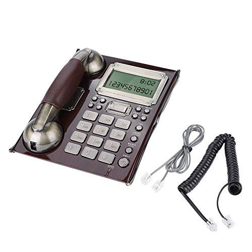 Teléfono con Cable, teléfono Fijo Europeo Antiguo Vintage Teléfono Fijo Identificación del llamador Retroiluminado Contestador automático Sistema de Escritorio Teléfono con Cable(Nuez roja)