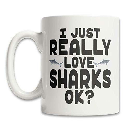 Taza Mug Tazas Taza linda del tiburón Taza de I Love tiburones Taza linda del regalo del tiburón Taza del amante del tiburón Tiburón lindo 330ml