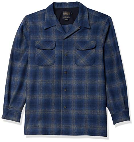 Pendleton Men's Long Sleeve Classic Fit Board Wool Shirt, Blue/Navy/Grey Ombre, SM