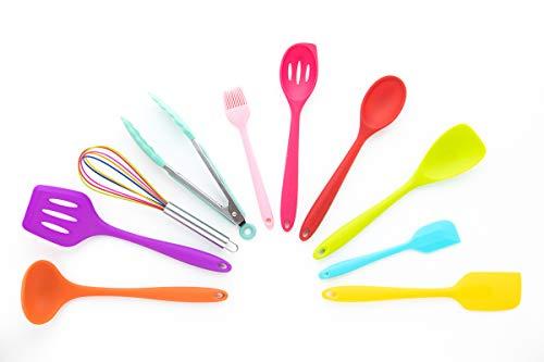 SMMS | 10 teiliges Küchenset aus Silikon | hitzebeständig | Spülmaschinen geeignet | Kochutensilien | Kochbesteck Set | Antihaft