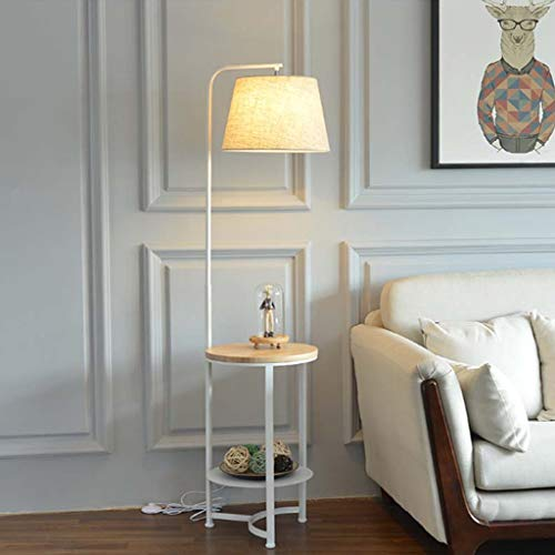 Lámpara de pie con estantes de Madera, luz de Piso de Madera con Mesa, mesita de Noche para el Dormitorio, Mesa Auxiliar para el sofá de la Sala de Estar (Color : A)