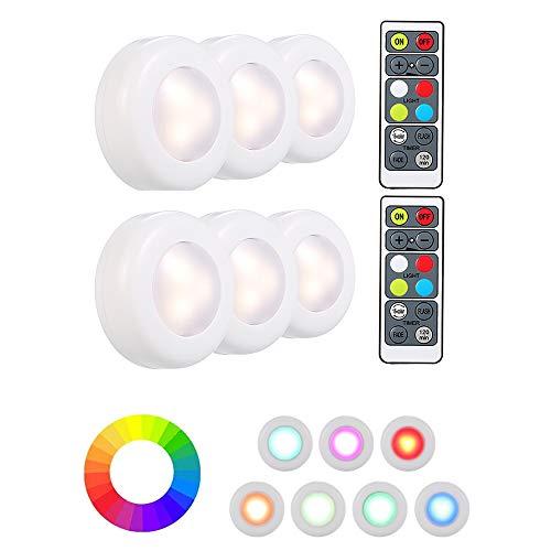 Lixada Luz Nocturna con Control Remoto, 6 Pack Regulables Luces LED Luz de Noche LED Lámpara de Cocina LED en 16 Colores Automáticos, 3 Modos de Iluminación para Armario Cocina Gabinete