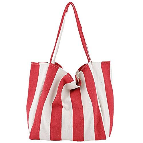 Bolsa de Playa,Totalizador de Lona de Verano Niña Mujer Bolsas Bandolera Bolsos,con Bolsillos Bolso Playa,Bolsa de Hombro con Cuerda de Algodón para Viaje Compras 39*35*21cm ( Color : Red , Size : A )