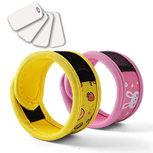 BuggyBands 2 Pack Mosquito Bracelet with 4 Essential Oils Refills, Waterproof Wristbands for Kids & Adults, Natural Deet-Free Resealable,Safe Indoor Outdoor Protection (Pink-Yellow)