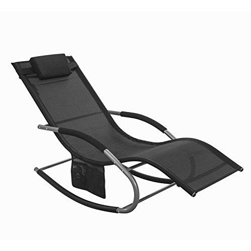 SoBuy® OGS28-SCH Swingliege, Schaukelliege, Sonnenliege, Liegestuhl,Gartenliege mit Tasche, Gewebe in schwarz