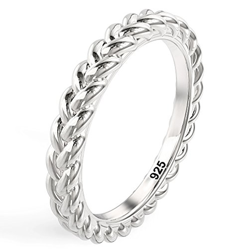 Metal Factory Sz 7 925 Sterling Silver Braid Style Stackable Eternity Ring