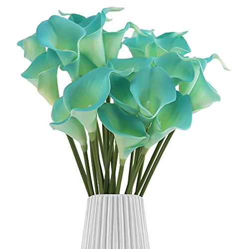 Ramo de 30 flores artificiales de cala, tacto real, para bodas, decoración de cocina, hogar, color azul zafiro