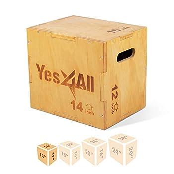 Yes4All Wood Plyo Box/Wooden Plyo Box for Exercise Crossfit Training MMA Plyometric Agility – 3 in 1 Plyo Box/Plyo Jump Box  16/14/12