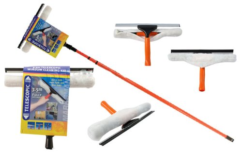 BARGAINS-GALORE 3.5M Telescopic Conservatory Window Glass Cleaning Cleaner with Squeegee New