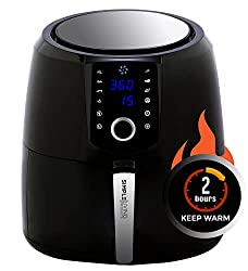 Simple Living Air Fryer, XL 5.8qt Hot Digital Air Fryer. 3 Air Fryer Accessories, Custom Recipe Book, 8 Cooking Presets, Non Stick Basket & Keep Warm Function