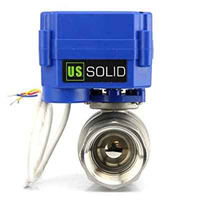 """Motorized Ball Valve- 1"""" Stainless Steel Electrical Ball Valve with Full Port, 9-24V AC/DC and 3 Wire Setup by U.S. Solid from U.S. Solid"""