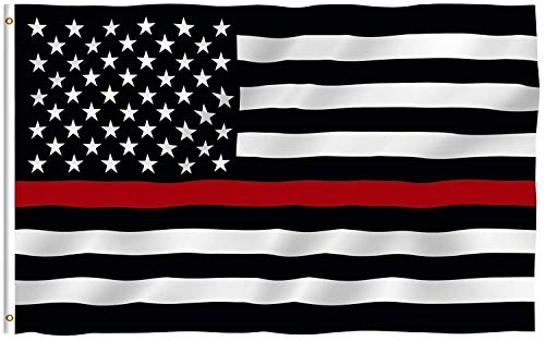 Firefighter Thin Red Line Flag 3 x 5 Foot Polyester Flag with Grommets. Support Your Firefigher with This Thin Red Line Flag
