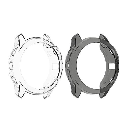 Keweni Carcasa para Garmin Fenix 6X,Funda Protectora de Silicona TPU de Repuesto para Funda Protectora a Prueba de Golpes e irrompible para Garmin Fenix 6X (Negro + Transparente)