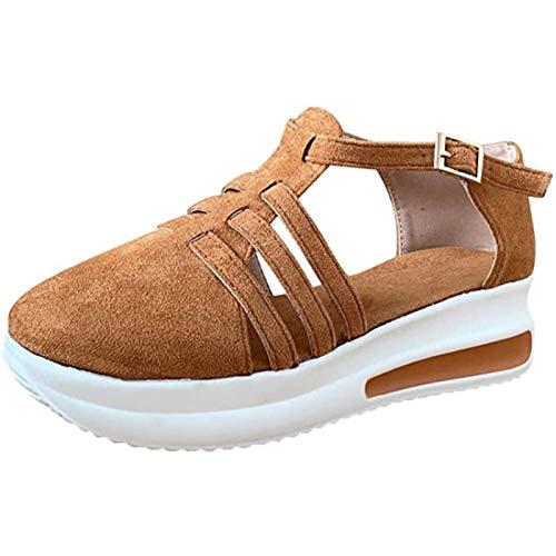 SONG Mocasines De Cabeza Redonda Retro De Primavera para Mujer, Zapatos Casuales De Cuña Superior Bajo Sandalia De Hebilla Redonda De Aumento De Altura,Brown-42