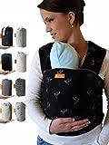 Kleiner Held Babytragetuch - hochwertiges elastisches Baby Tragetuch - Babytrage für Früh- und Neugeborene Babys ab Geburt bis 15 kg inkl. Wickelanleitung und Aufbewahrungstasche I schwarz Muster
