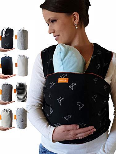 Kleiner Held® Babytragetuch - hochwertiges elastisches Baby Tragetuch - Babytrage für Früh- und Neugeborene Babys ab Geburt bis 18 kg inkl. Wickelanleitung und Aufbewahrungstasche I schwarz Muster