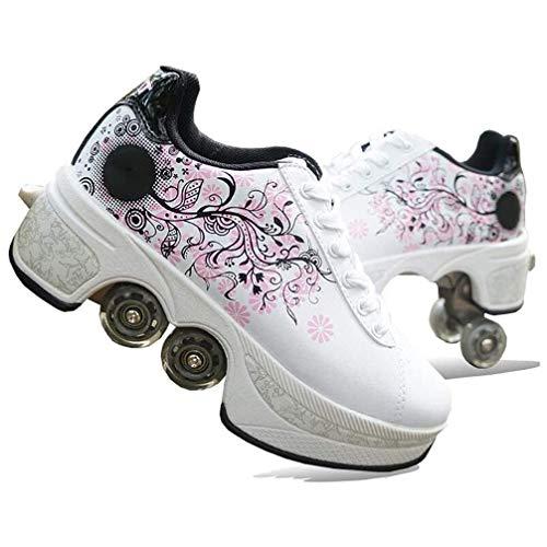 Rollschuh Roller Skates Lauflernschuhe,Sneakers,2in1 Mehrzweckschuhe Schuhe mit Rollen Skateboardschuhe,Inline-Skate,Verstellbare Quad-Rollschuh Stiefel Skateboardschuhe EU37/UK4.5