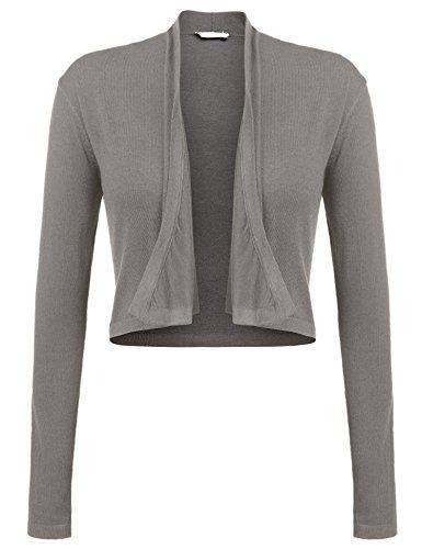 Zeagoo Damen Strickjacke Kurz Cardigan Langarm Bolero Langarmshirt Elegant Asymmetrisch Schnitt Top Schulterjacke, EU 42/ XL, Grau