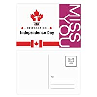 カナダ独立記念日のメープルリーフ旗 ポストカードセットサンクスカード郵送側20個ミス