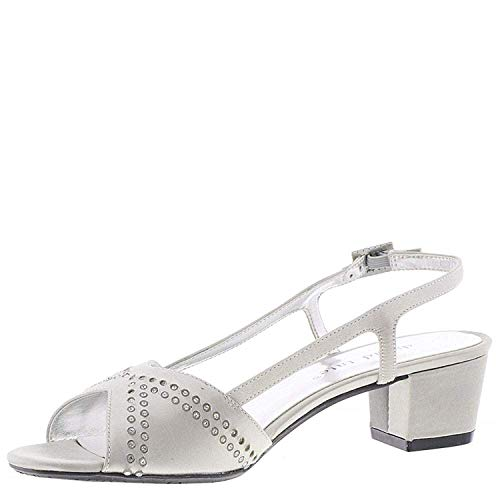 David Tate Womens Wish Satin Open Toe Special Occasion, Silver, Size 8.0