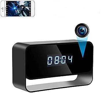 True 1080P Hidden Camera Clock Wireless Spy Cameras HD WiFi Secret Covert Nanny Cam Home Office Surveillance Security Cams Enhanced Night Vision 12/24 Hour Switch Motion Detection Alert