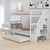 Bunk Beds Twin Over Twin Size, Solid Wood Bunk Bed with Trundle for Kids and Toddler (White Bunk Beds with Trundle)