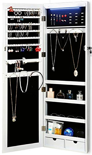 RISAR Jewelry Cabinet WallDoor Mounted Lockable Jewelry Armoire Organizer with Full Length Dressing Mirror Makeup Jewelry Storage White