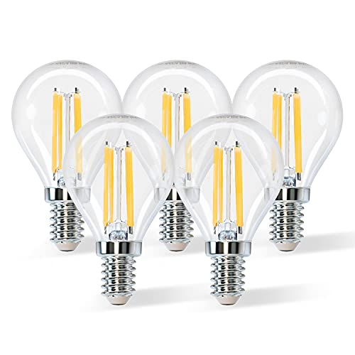 Aigostar Ampoule LED E14 Blanc Chaud 2700K,Vintage Ampoule Filament 4W Equivalent à Ampoule Incandescente 40W, transparent Ampoule Rétro Edison, 470LM,Angle de 360º, Non-dimmable, Lot de 5