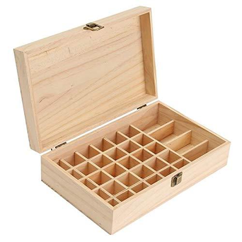 PETZMALL Caja de Botellas de Madera de 34 cuadrículas, Almacenamiento Organizador de contenedores para aromaterapia de Aceite Esencial para joyería