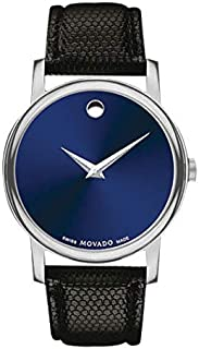 Movado Museum Blue Dial Black Leather Strap Men's Swiss Watch
