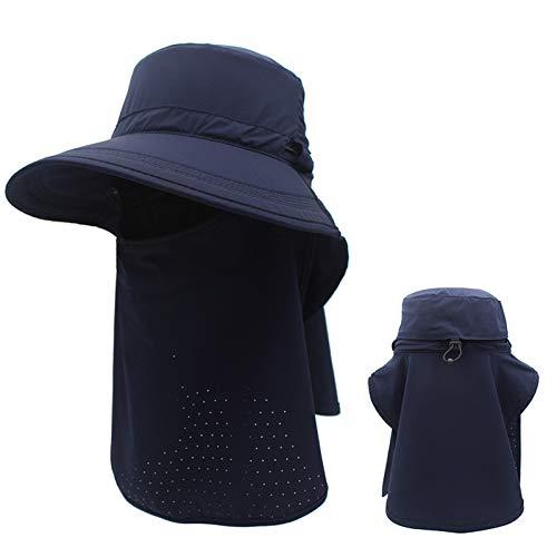 Sombrero para el sol Unisex, Gorra de Pesca con Protección UV de ala ancha y Cuerda Ajustable a Prueba de Viento, para Playa/Viajes/al aire Libre,4,M
