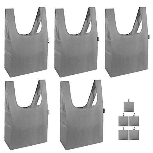 折畳み買い物袋 ポリエステル100% 5セット グレー