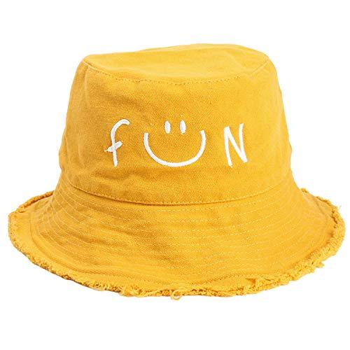 KeepSa Algodón Bordado Smiley Sombrero Pescador Mujer Verano Plegable Sombrero del Gorro de Pescador 58-59cm