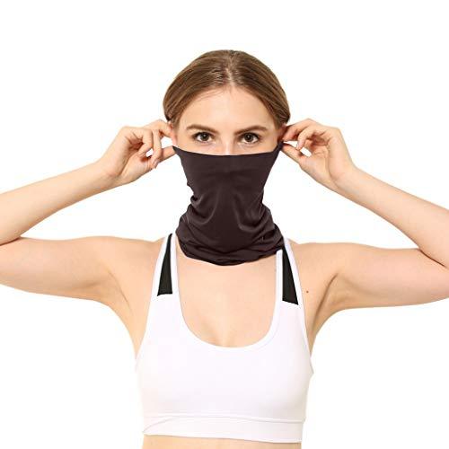 Julhold Gesichtsschal Schlauchschal Multifunktionstuch Winddicht Atmungsaktiv Mundschutz Halstuch Solid Yoga Stirnband(Kaffee)