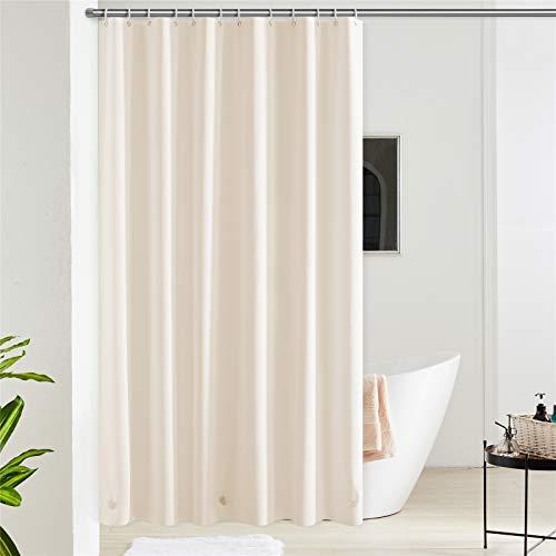 Furlinic 180x200 Duschvorhang aus Eva Badvorhang Anti-schimmel Vorhänge in Badezimmer für Badewanne Dusche Beige mit 12 Duschvorhangringe Saum mit Steinen.