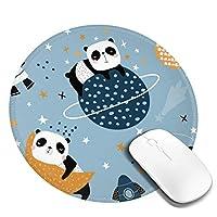 マウスパッド ラウンドマウスマット ゲーミングマウスパッド 丸型 円形 おしゃれ パンダ柄 柔軟 PC ノートパソコン オフィス用 滑り止めゴム底 耐久性が良い 光学式マウス対応 人間工学 オフィス最適 高級感