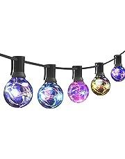 【2020最新版】ストリングライト防雨型 LED電球 G40 E12口金 電球色 PC素材 破損しにくい 屋内/屋外 照明 誕生日 ガーデンライト 庭 祭り 商店街