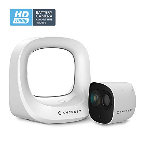 Amcrest Battery Home Security Camera System Wireless Outdoor 1080P, 6 Month Rechargeable Battery, Night Vision, Indoor/Outdoor IP65 Weatherproof, 2-Way Audio, 1 Year Free Cloud, 1 Cam Kit AB2WFSET