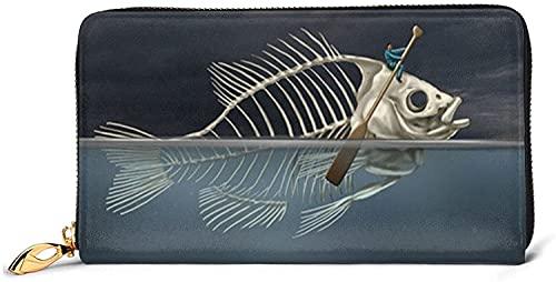 Portefeuilles Zippés Imprimés pour Femmes Pochette Porte-Cartes Organisateur-Noir-Taille Unique, Homme avec Squelette De Poisson dans Le Kayak De Mer Portefeuille en Cuir Imprimé