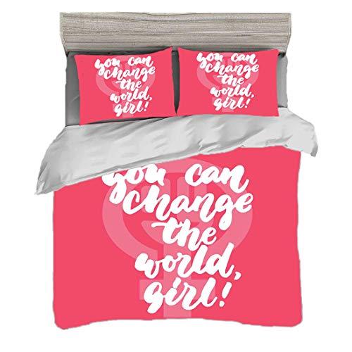 Juego de funda nórdica (200 x 200 cm) con 2 fundas de almohada Citar Ropa de cama con impresión digital Puedes cambiar el texto feminista de World Girl Female Empowerment en Pink, Pink Pink Coral y Wh