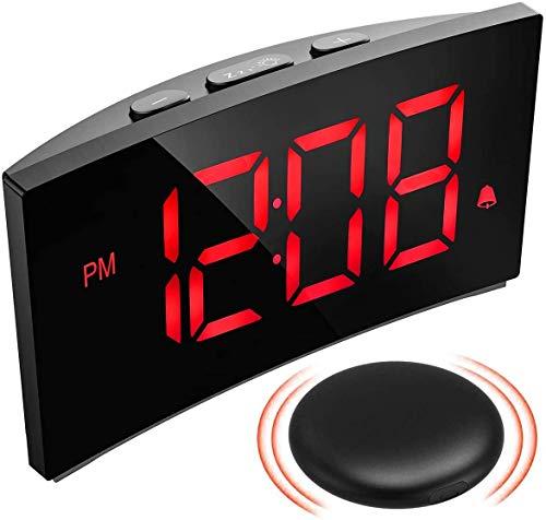 PICTEK Kabelloser VibrationsWecker, Vibrations - /Klingeltonmodus, 3 Alarmtöne, 6 einstellbare Helligkeiten, Ultraklare Rote Ziffern, digitaler Wecker für Gehörlosen Schwere Schwellen Schlafzimmer