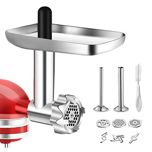 Metal Food Grinder Attachment for KitchenAid Stand Mixers, BQYPOWER Meat Grinder Attachment Included 2 Sausage Stuffer Tubes, 3 Grinding Blades, 3 Grinding Plates…