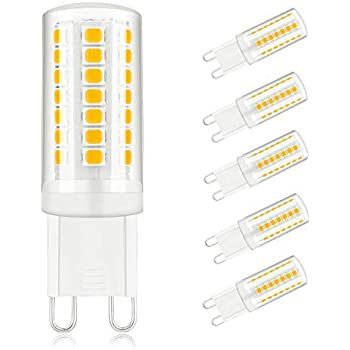 50W Halogen Equivalent Commodity Display Lighting CRI80 5W 3000K Warm White G9 Base Bulb for Chandelier Interior Decoration Lighting Dimmable G9 LED Bulbs 6-Pack